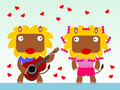 A serenade cartoon illustration of male lion serenading female one Royalty Free Stock Photo