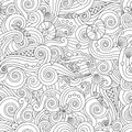 Serene hand drawn outline seamless pattern with sea waves, seashells isolated on white background.