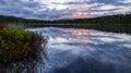 Serene lake reflection with purple sky Royalty Free Stock Photo