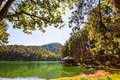 Serene lodging house at pang ung wide angle view of beside the lake tong reservoir mae hong son province thailand Stock Photos