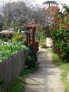 Quiet, riverfront walking path, Capitola, California. Royalty Free Stock Photo
