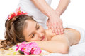 Serene woman enjoying a massage or skin treatment Royalty Free Stock Photo