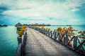 Serenity boardwalk at tropical island Royalty Free Stock Photo