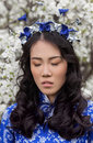 Serenity girl in ao dai on the background of the cherry blossoms Stock Photo