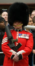Sergeant in the welsh guards a very young looking displaying his medals at funeral of lady thatcher Stock Photography