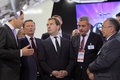 Sergei ivanov dmitry medvedev and vladislav masa zhukovsky russia aug masalov at the international aviation space salon maks aug Royalty Free Stock Image