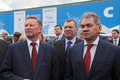 Sergei ivanov yuri borisov and sergey shoygu zhukovsky russia aug at the international aviation space salon maks aug at Stock Image