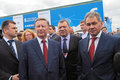 Sergei ivanov yuri borisov and sergey shoygu zhukovsky russia aug at the international aviation space salon maks aug at Stock Photo