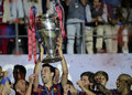 Sergio busquets lifts the uefa champions league trophy barcelona players pictured during award ceremony held after final between Stock Images