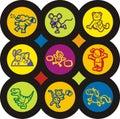 Serie dell'icona dei bambini e del bambino Immagini Stock Libere da Diritti