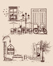 Series of backgrounds decorated with old town views and street cafes. Royalty Free Stock Photo