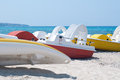 Series of boats with a slide on the beach waiting to sail Royalty Free Stock Photo