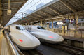 The series bullet train at tokyo station apr on apr in service as hikari light for tokaido shinkansen line Royalty Free Stock Image