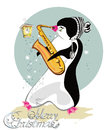 Series of cute penguins playing musical instruments.