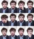 A series of emotional portraits of shaggy young men Royalty Free Stock Photo