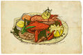 From the series food seafood an hand drawn illustration on old paper around world with crab Royalty Free Stock Photo