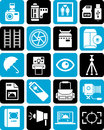 A series of icons for photography including point and shoot red eye film flash card ladders umbrella wedding raw files medium Stock Image