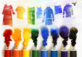 Series of illustrations with paint tubes. Stock Photography