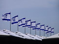 A series of Israeli flags on Independence Day