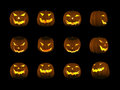 A series of jack o latern with different angles and clipping path Royalty Free Stock Image