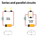 Series and parallel circuits Royalty Free Stock Photo