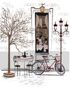 Series of sketches of beautiful old city views with cafes Royalty Free Stock Photo