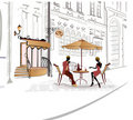 Series of sketches of streets with cafe Royalty Free Stock Photos