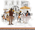 Series of street cafes in the city with musicians and people sitting at cafe tables Royalty Free Stock Image