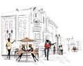 Series of street cafes in the city Royalty Free Stock Photo