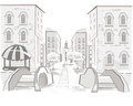 Series of street views in the old city background sketch Stock Photos