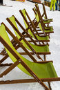 A series of sun loungers at the ski resort Stock Photo