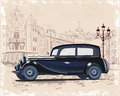 Series of vintage backgrounds decorated with retro cars and old city street views. Royalty Free Stock Photo