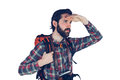 Serious adventurer looking away Royalty Free Stock Photo