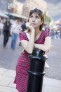 Serious atrractive woman middle age standing in st Stock Photos