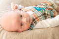 Serious baby boy cute with a sweet kissable expression image orientation is horizontal and there is copy space Royalty Free Stock Photo