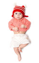 Serious baby in a jump Royalty Free Stock Photos