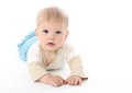 Serious Baby on White Royalty Free Stock Photography