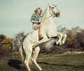 Serious blonde woman riding the horse lady Stock Image