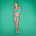 Serious Blonde Young Woman In Bikini Royalty Free Stock Photo