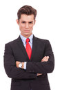 Serious business man with arms crossed Royalty Free Stock Photos