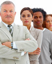 Serious business people standing on white Royalty Free Stock Photography