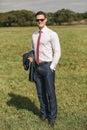 Serious Businessman Standing O...