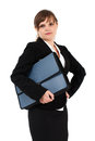 Serious businesswoman with briefcase Stock Photos