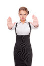 Serious businesswoman showing stop gesture Royalty Free Stock Photos