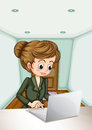 A serious businesswoman using the laptop illustration of Royalty Free Stock Images
