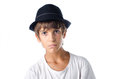 Serious child wearing fedora hat isolated on white Royalty Free Stock Images