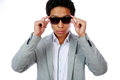 Serious fashion asian man portrait of a over white background Stock Photo