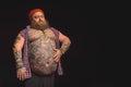 Serious fat man with big abdomen Royalty Free Stock Photo
