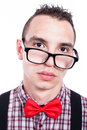 Serious geek face closeup of man isolated on white background Royalty Free Stock Photos