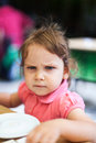 Serious girl frowning looking unhappy Royalty Free Stock Image